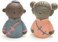 Tea Pet Decoration Cute Little Monk Boy Lie Down Pose w//Sand Cloth Happy Decor