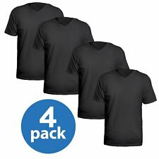 4 Pack V-Neck T Shirts for Men, 100% Cotton Free Young Adult to Mens Shirt
