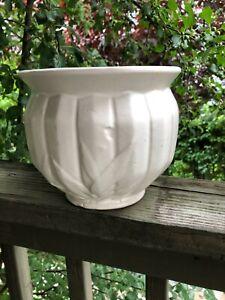 "McCoy Vintage 1940 Jardiniere 7.5"" White NM Nelson McCoy USA Pottery"