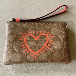 COACH Keith Haring Heart Corner Zip Signature Wristlet Valentine's Day