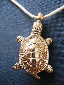 Handmade Silver Turtle Tortoise Brass Cremation Keepsake Pendant Urn Necklace
