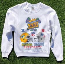 Rare VTG 90s White FOTL Packers Patriots NFL Super Bowl Football Sweat Shirt M