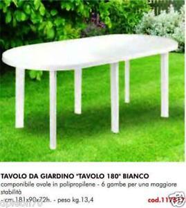 TAVOLO IN PLASTICA DA GIARDINO Cm 181 X 90 H= 72  COLORE BIANCO 6 GAMBE
