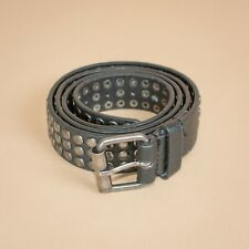 Unisex Leather Jeans Belt Silver Buckle Vintage Men's Women's XSmall Small