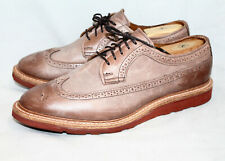 ALLEN EDMONDS Shannon Drive Wingtip Oxfords 1643 Men 10.5EEE Beige Tan Leather