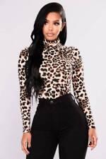UK Women Leopard Print Turtle Neck Blouse Autumn Long Sleeve T-shirts Party Tops