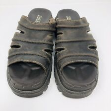 Skechers Jammers Brown Size 7 Leather Platform Chunky Slide Sandals Shoe Women's