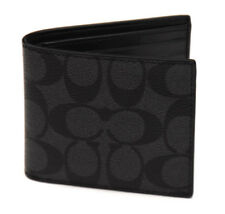 NWT Coach F75083 Men's Double Billfold Wallet in Coated Canvas Black $150