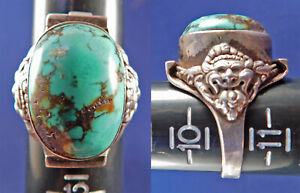 Vintage Handcrafted Sterling Silver Turquoise Tibetan Water Dragon Saddle Ring