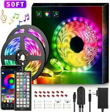 50Ft LED Strip Lights Music Sync Color Changing RGB LED 50Ft APP+Remote+Mic NEW
