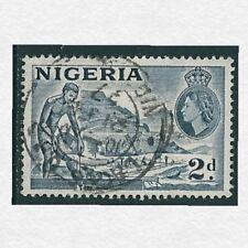 1957 - Nigeria QEII 2d Bluish Grey Stamp Mining Tin SG72e Used