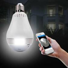 360 Degree Panoramic Hidden IR Light Camera Bulb Wifi FishEye CCTV Secure 1080P