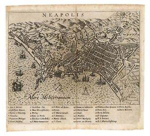 Stampa antica originale Neapolis Napoli Campania Italy