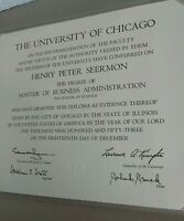 VTG 1953 Diploma The University Of Chicago IL. Master Of Business Degree