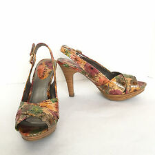 Kelly & Katie Multi Color Floral Open Toe Slingback Sandals Size US 5.5 M