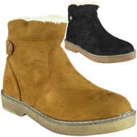 Womens Ladies Ankle Faux Suede Boots Casual Winter Snow Grip Sole New Shoes Size