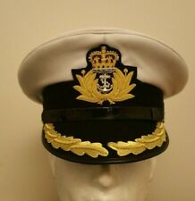 More details for british royal navy captain / commander officers peaked cap / hat queens crown