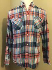 Mens Ben Sherman Multi Color Long Sleeve Plaid  SZ M 100% Cotton