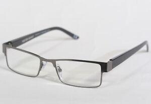New Mens Foster Grant Chip Gun Metal Rectangular Reading Glasses w case