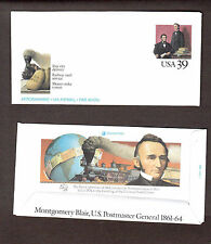 Montgomery Blair Postmaster General 39 c 1989 Aerogramme Airmail Unused envelope
