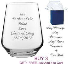 Personalised Engraved Whiskey Brandy Tumbler Glass wedding dad grandad gift