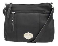 Harley-Davidson Womens B&S Filigree Logo Pebbled Leather Crossbody Purse - Black