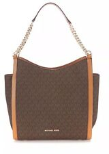 NWT MICHAEL KORS NEWBURY SIGNATURE MEDIUM CHAIN SHOULDER TOTE ~  LOGO MK BROWN