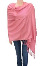 Elegant Solid Color Pashmina Shawl Scarf Light Pink for Women