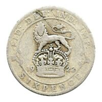 KM# 815a - Sixpence - Silver (.500) - George V - Great Britain 1922 (Fair)