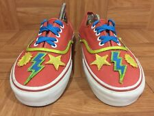 Custom🔥 VANS Authentic Orange Sun Star Lighthning Hand Made Performer Shoes 8.5