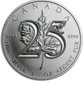 3x Kanada - 5 Dol. 2013 - Maple Leaf - 25. Jubiläum - 1 Oz Silber