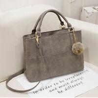 Damen Grau Handtaschen Schulter-Beutel Messenger Bag Tote-Geldbeutel aus