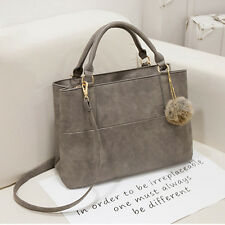 Damen Grau Handtaschen Schulter-Beutel Tote-Geldbeutel aus Leder Messenger Bag