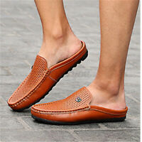 UK Men's Slip On Hollow Mule Shoes Driving Loafer Moccasins Leather Slippers #