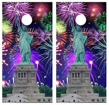 Statue of Liberty/4th of July Cornhole Board Game Decal Wraps w/FREE APP SQUEEGE