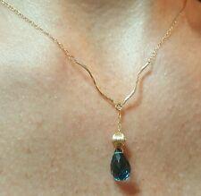 9mm London blue topaz briolette 3ct solid 14k gold twist wave necklace pendant