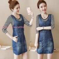 Stylish Womens Casual Cotton Denim Overall Skirt Suspender Romper Dress Jean