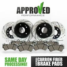 Front and Rear Black Drilled & Slotted Brake Rotors with Ceramic Pads
