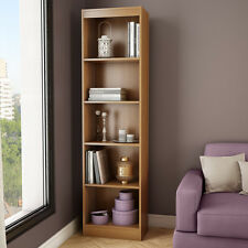 "Light Brown 71"" Vertical Slim 5 Shelf  Bookcase Home Office Storage Furniture"