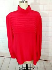 Red Silk  pleated vintage secretary Blouse Woman's Shirt 14