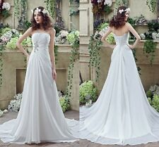 Stock A-Line Wedding Dresses Formal White Chiffon Crystal Bridal Gowns Size 2-16