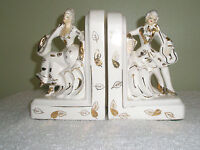 Vintage Porcelain Figural Bookends Victorian Man and Woman Made in Japan
