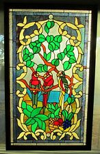"""Stained Glass Panel - 3 Parrots Resting  in wood frame 22"""" x 36"""" panel"""