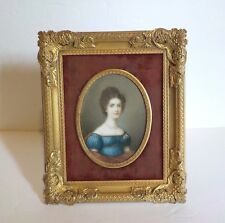 19th C. French Dore Bronze Framed Miniature Portrait, Signed (#1)