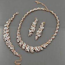 ROSE GOLD GP Crystal Necklace Earrings Bracelet Bridal Wedding Jewelry Set 00490