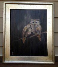 """Birds of a Feather"" FRAMED! Original Oil Painting owl feather feathers bird"