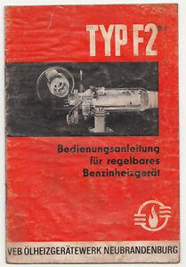 Manual de Instrucciones Para Ajustable Benzinheizgerät Tipo F2 DDR 1971 (H3