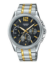 MTP-E305SG-1A Black Gold Casio Men's Steel Watches Day and date indicator New