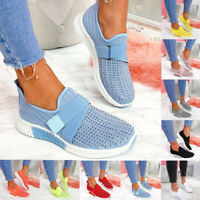 WOMENS LADIES KNIT SLIP ON SNEAKERS DIAMANTE STUDS SPORTS RUNNING TRAINERS SHOES