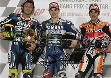VALENTINO Rossi Jorge Lorenzo, Marc Marquez mano firmato PODIO 12x8 foto.